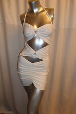 Sexy Off White Cut Out Front Backless Stretch Club/Party Mini Dress One S 8-10