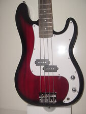 """NEW 46"""" 4 STRING TRANSPARENT RED  ELECTRIC BASS GUITAR WITH GIG BAG CASE"""