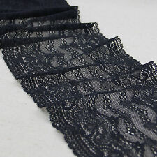 "1 Yard Pretty Stretch Delicate Elegant Edge Lace Trim Black 6 3/8"" Wide"