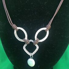 Silpada N1257 Hammered .925 Sterling Silver Coin Pearl And Brown Leath  Necklace