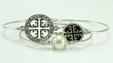 Set of 3 Silver Toned Bangles Black Round Cross Design & Rhinestones