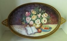"""20"""" Gold colored Tray with Roses, fruit and book painted design"""