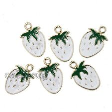 10pcs New Carms White&Green Enamel Alloy Strawberry Pendants Jewelry Crafts - C