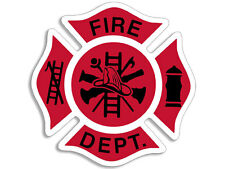 4x4 inch Red & Black FIRE DEPT Maltese Shaped Sticker -firefighter department fd