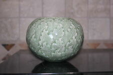 Celadon Globe Vase Leaf Design Thailand approx 4.5 in tall x approx 5 in across
