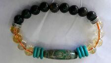 CITRINE AND BLOODSTONE With Three EyedDzi Bead& Turquois(GreenHowlite) Bracelet