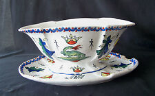 1800's HP French Faience Alcide Chaumeil Pottery Gravy Boat w Liner