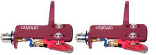 2 ORTOFON OM SCRATCH CARTRIDGES MOUNTED + PINK SH-4 HEADSHELL, DJ TWIN Auth. DLR