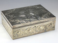 Sterling Silver Jewelry Box by William Comyns Repousse angels on lid 1907 London
