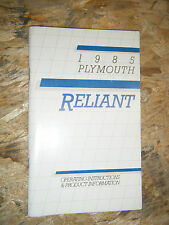 1985 PLYMOUTH RELIANT FACTORY OWNERS MANUAL OPERATORS GLOVE BOX BOOK