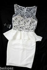 NWT Bebe black cream white top lace bustier peplum small dress sexy zip back S