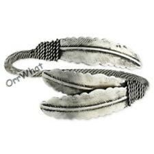 Western Feathers Antiqued Silver Rope Women's Cuff Bangle Bracelet Cowgirl
