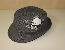 Men's Fedora Gangster Hat Cap with Skull Pin Stripe Short Brim Cool Style