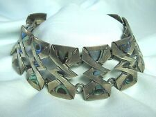 "925 Mexican Sterling Silver & Abalone Bracelet  Taxco Old Eagle Mark  7"" long"
