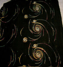Sheer Black Chiffon With Gold Embroidery & Red & Gold Sequin Design 2 yds