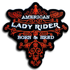 American Lady Rider Patch Iron on Harley Chopper Biker Motorcycle Rider Vest Sew