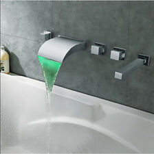 LED Color Changing Waterfall Bathroom Tub Faucet Wall Mounted Mixer Hand Shower