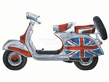 PRINT PAINTING DRAWING TRANSPOR VESPA SCOOTER MODS UNION FLAG JACK NOFL0064