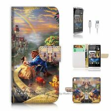 HTC Desire 820 Flip Wallet Case Cover! P1959 Beauty and Beast