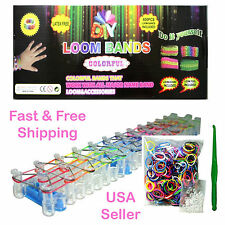 DIY Loom Bands Bracelet Kit: 600 Rainbow Rubber Bands Loom Clips, 1 Board & Tool