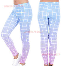 Pink & Blue Gradient grid soft leggings -  8 - 12 UK 80s neon retro vintage yoga