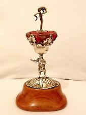 Fantastic Antique Hallmark Silver Figural Hat / Tie Pin Cushion Stand Holder