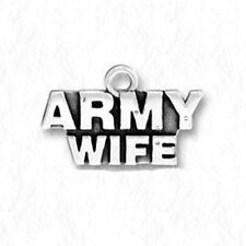 ARMY WIFE Military Antiqued Silver Traditional Charm 1pc