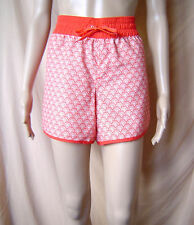 WOMENS 'NOW' RED & WHITE SPORTS STYLE ELASTICATED SHORTS [UNLINED] SIZE LARGE