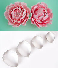 4 Piece metal peony flower cutter set gumpaste flower fondant cupcake decorating