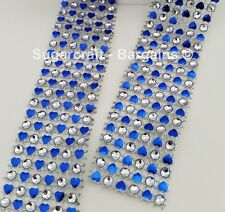 HEARTS BLING RIBBON SPARKLY Cake decorating Card craft mesh  mesh silver BLUE