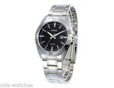 Casio MTP1308D-1A Mens Silver Stainless Steel Dress Watch Black Dial NEW Date