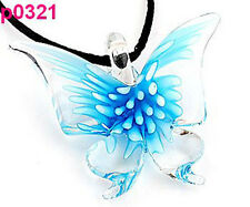 Lifelike Butterfly art lampwork glass pendant p0321 BLUE CUTE