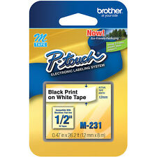 "Brother M231 M 1/2"" 12mm Black on White Ptouch tape PT65 PT70 PT80 PT85 PT90"