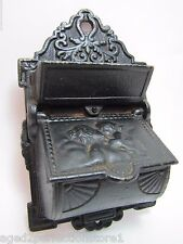 Vintage Cast Iron Art Nouveau styl Cherub Match Safe double match holder striker