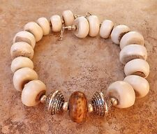 WHITE BROWN TRIBAL BONE GEM NECKLACE BIG SILVER BEADS AFRICA JEWELRY USA MADE