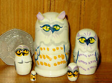 Russian tiny WHITE SNOWY OWL BIRDS wood nesting dolls 5 HAND PAINTED Matryoshka
