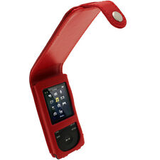 Rot Leder Tasche für Sony Walkman NWZ-E574 NWZ-E575 NWZ-E574B NWZ-E575B Hülle