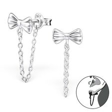 Sterling Silver 925 Bow & Chain Ear Jacket / Double Earrings