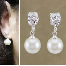 CLIP ON non-pierced PEARL&CRYSTAL 2cm EARRINGS small drop RHINESTONE dome ball