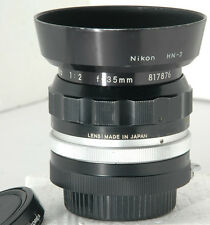 NIKON Nikkor 35mm f/2 nonAI wide angle manual focus lens w/ HN-3 Lens Hood