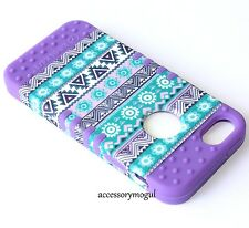 For iPhone SE 5S HARD & SOFT RUBBER HYBRID ARMOR SKIN CASE PURPLE AZTEC FLOWERS