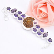 Amesome Natural Handmade Ammonite Fossil  Amethyst Gems Silver Charming Bracelet