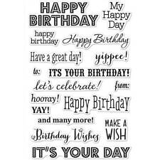 *Hero Arts It's Your Day Birthday Wishes 4 X 6 CL661 Clear Cling Stamp Set of 17