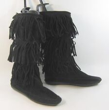 new Black flat round toe frill on top mid-calf boot   size.   8.5
