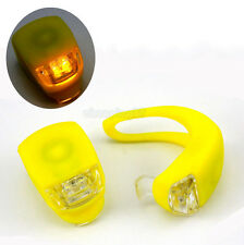 2 x New Cycling Bike Bicycle Yellow silicone Frog LED Lamp Safety Warning Light