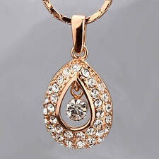 New Antique Style 18K Rose Gold GF Drop Pendant Necklace Use SWAROVSKI Crystal