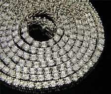 Mens 1 Row White Gold Finish Genuine Real Diamond Chain Necklace 34 Inch