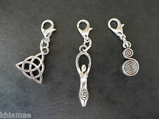 3 x Clip On Wiccan Bracelet Charms goddess triquetra spiral pagan silver set