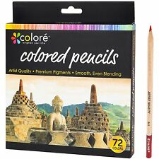 Colore Colored Pencils - 72 Premium Pre-Sharpened Color Pencil Set For Drawing