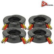 AceLevel Premium 100ft BNC Extension Cables for Defender Systems- 4 Pack (Black)
